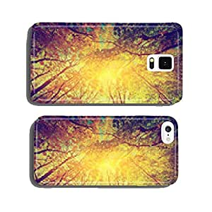 Autumn, fall trees. Sun shining through colorful leaves. Vintage cell phone cover case Samsung S6