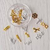 1 Box 3D Nail Art Decoration Gold Silver Comb Scissors Glasses Alloy UV Gel Studs