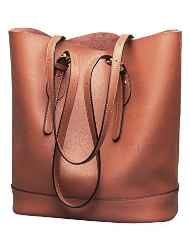 Women's Handbag Genuine Leather Tote Shoulder Bucket Bags Elegant Style Large Capacity (Brown) by wanture
