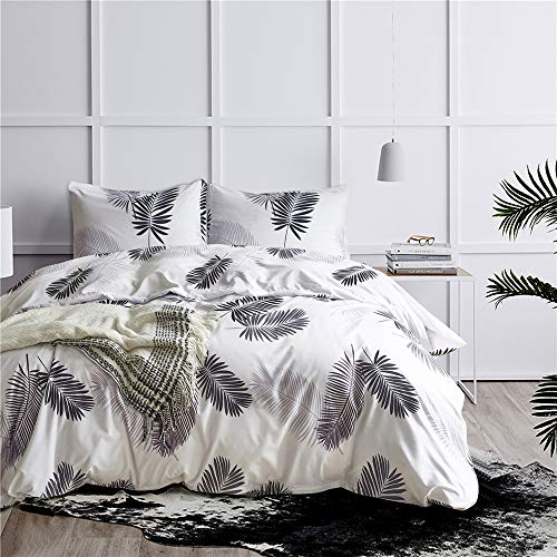 GiveUWant Microfiber Flower Palm Duvet Cover Queen (90x90 Inch), 3 Pieces (2 Pillowcase,1 Duvet Cover) White Floral Plant Soft Bedding Set, Botanical Blossom Comforter Cover Set for Women, Girls