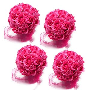 10 Pack , Artificial Rose Satin Flower Ball for Home Wall Wedding Party Ceremony Decoration, Dark Pink 71