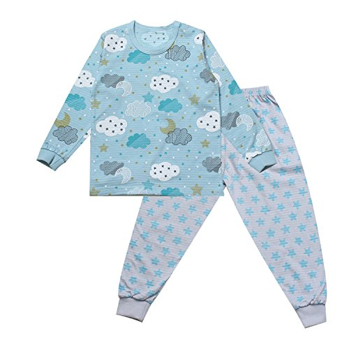OllCHAENGi Toddler Kids Boys Girls Cotton Pajama Set Long Sleeve 3T-14Y Stellar Cloud (140(9-10 Years)) ()