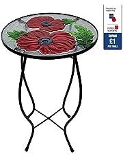 Gardman 20108 Red Poppy Flower Glass Garden Side Table Royal British Legion