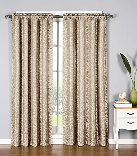 Window Elements Dawson Shimmering Leaf Extra Wide 54 x 84 in. Rod Pocket Curtain Panel, Taupe