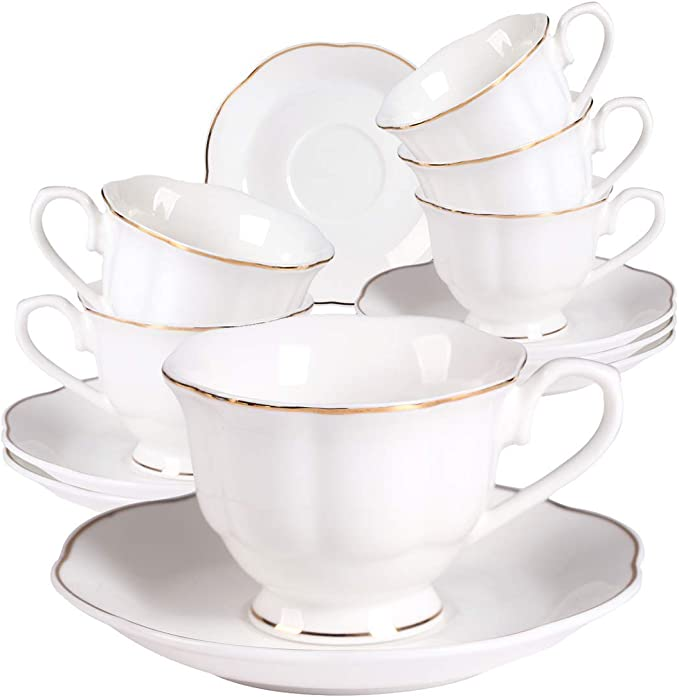 Amazon Com Guangyang Small Porcelain Espresso Cups With Saucers 2 8 Ounce Coffee Cup And Saucer Set Of 6 White Total 12pieces Cup Saucer Sets