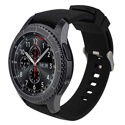 iBazal Gear S3 Watch Band 46mm,Gear S3 Frontier/Classic Band Soft Silicone Band Replacement Sport Strap 22mm Watch Bands for Samsung Gear S3 Frontier/Classic Men Women- Black