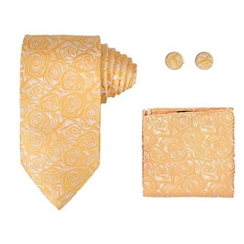 Y&G H6092 Gold Pattern Family Gift Idea Silk Ties Cufflinks Hanky Husband Gift Set ()