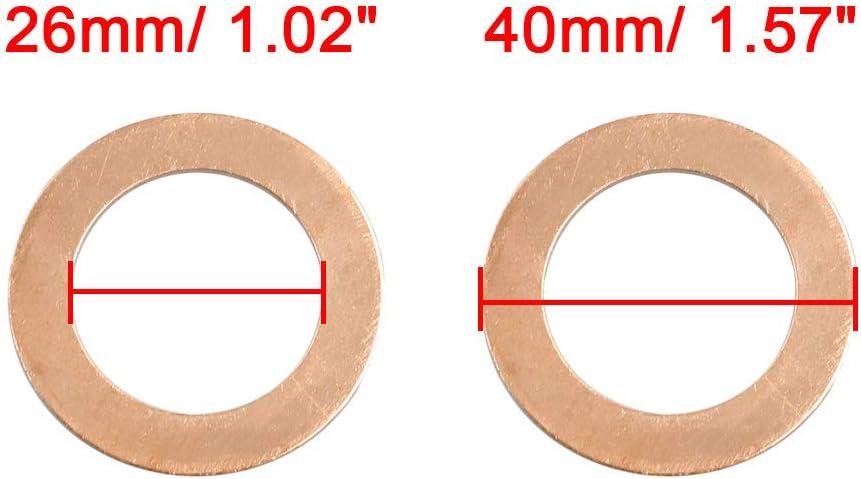 26mm Inner Dmr Kupfer Flache Dichtungen Ring f/ür Auto sourcing map Unterlegscheiben 5Stk