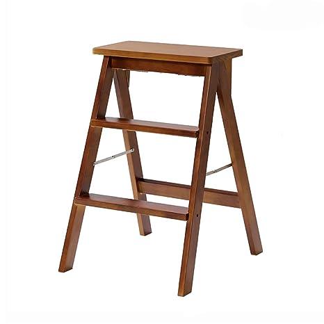 Amazon.com: LXLA- Taburete plegable de madera maciza para el ...
