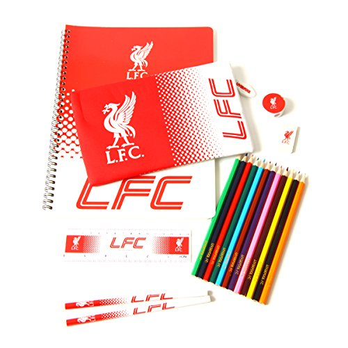LIVERPOOL FC Ultimate Stationary Set 19 piece set containing 12 colouring pencils, 2 pencils, A4 notepad, eraser, pencil case, ruler and a pencil sharpener. Officially Licensed & Ships from USA!