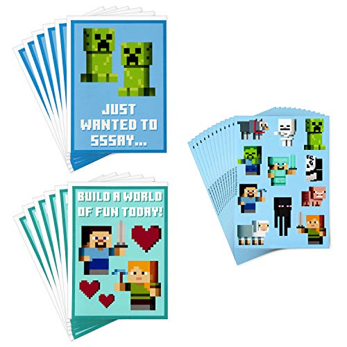 Hallmark Kids Minecraft Valentines Day Cards and Stickers Assortment (12 Cards with Envelopes)