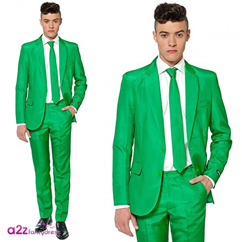 Mens Costume Party Suit in Solid Colors and Patterns, Includes Jacket, Pants and Tie (Small, Green)