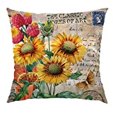 Sunflower DecorativeCase with Vintage Sunflower and Butterfly Postcard SatinDecorative Cushion Cover Home Sofa Decorative 18 X 18 in, Yellow,Brown 45cm