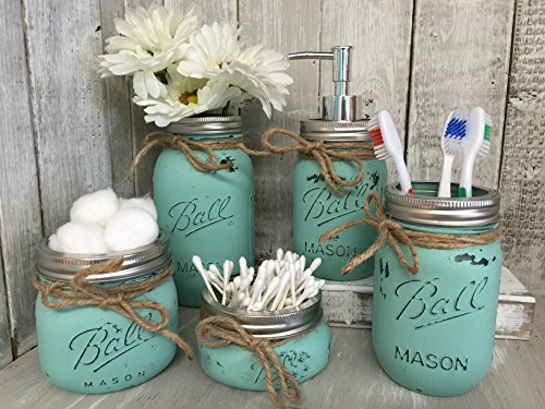 Lancaster Glass Accessory - Painted Mason Jar Bathroom Set of 5 | SEAGLASS Green Rustic Distressed Farmhouse Decor Bathroom Soap Dispenser, Painted Mason Jar | Burlap Bowtique