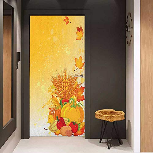 Onefzc Soliciting Sticker for Door Harvest Vivid Festive Collection of Vegetables Plump Pumpkins Wheat Fall Leaves Mural Wallpaper W35.4 x H78.7 Earth Yellow Green Red ()