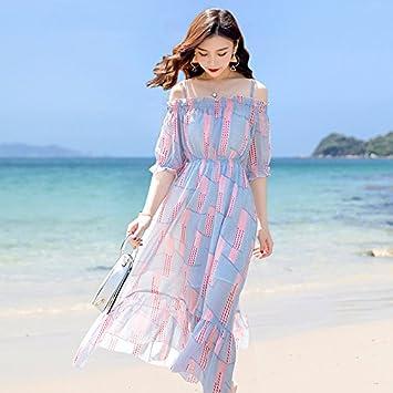 RENQINGLIN Vestido De Playa De Chifón con Un Hombro, Vestido De Fiesta De Playa Vestido