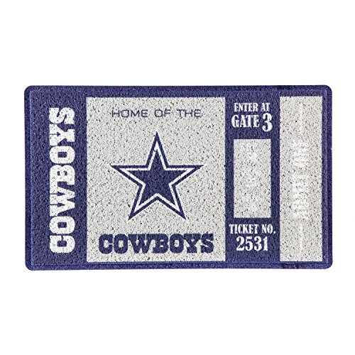 Team Sports America Dallas Cowboys Recyclable PVC Vinyl Indoor/Outdoor Weather-Resistant Team Logo Door Turf Mat