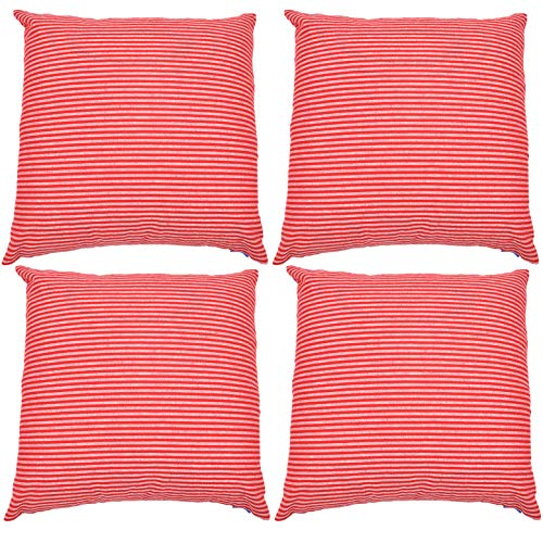 JES&MEDIS Set of 4 Pillowcase Cotton Stripe Decorative Square Throw Pillow Covers Set Cushion Case for Home Car Office Club 18 x 18 Inches 45 x 45 cm Red and White