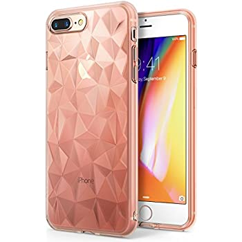 Apple iPhone 8 Plus Case Ringke [AIR PRISM] 3D Artistic Jewels Design Slim Unique Diamond Stylish Pattern Soft Gel TPU Drop Protection Cover for Apple iPhone 8 Plus / iPhone 7 Plus – Rose Gold Crystal