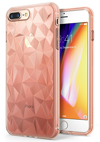Apple iPhone 8 Plus Case Ringke [AIR PRISM] 3D Urban Jewels Design Slim Unique Rhinestone Pattern Soft Gel TPU Drop Resistant Cover for Apple iPhone 8 Plus / iPhone 7 Plus – Rose Gold Crystal