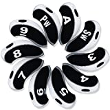 Andux Number Tag Golf Iron Covers 10pcs/set Mt/s04 Black/white, Outdoor Stuffs