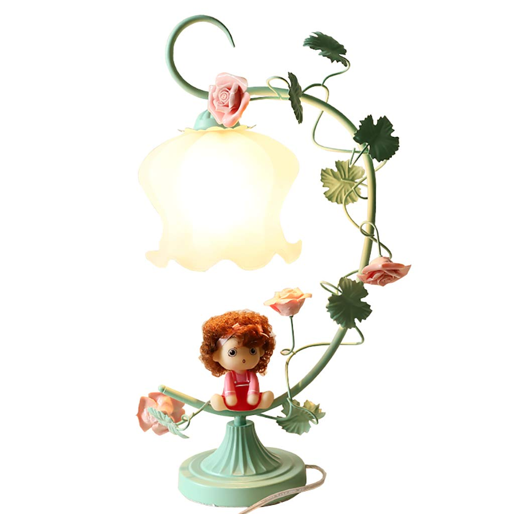 Table lamp Garden Romantic Girl Bedroom Decoration lamp (Color : Green)