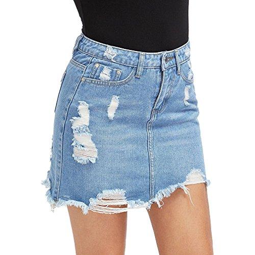 Dchire Clair Jupe Bleu Moulante Clair junkai Bleu Courte XS Jupe Haute Taille Denim Femme en zZwwqUPx