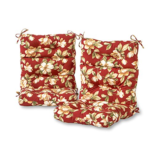 Greendale Home Fashions Outdoor High Back Chair Cushion (set of 2), Roma Floral (Barrel Fiber Home Depot)