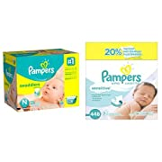 Pampers Swaddlers Diapers, Size N, Giant Pack, 128 Count and Pampers Sensitive Wipes, 7x Box, 448 Count Bundle