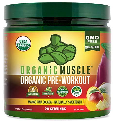 ORGANIC MUSCLE #1 Rated Organic Pre Workout Powder | **NEW Flavor** | Natural Vegan Keto Pre-Workout & Organic Energy Supplement for Men & Women | Non-GMO, Paleo, Plant Based | Mango Piña Colada |160