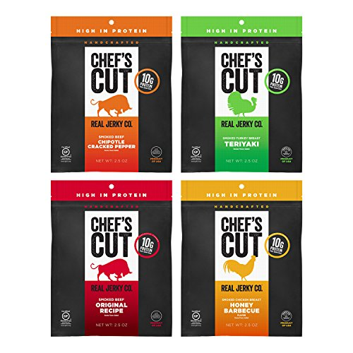 - Chef's Cut Tender Real Beef, Chicken, and Turkey Jerky, Variety Pack, 2.5 Ounce (Pack of 4)