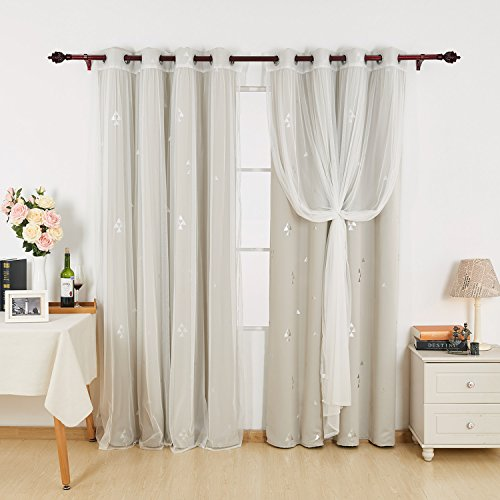 Deconovo Mix And Match Curtain Triangle Printed Blackout Curtains Panels Cream and Tulle Lace White Sheer Curtains for Nursery with Grommet Top, 4 Curtain Panel, 52W x 84L Inch