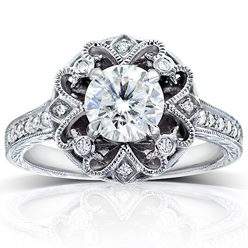 Antique Round-cut Diamond Vintage Style Engagement Ring 1 1/5 Carat (ctw) in 14k Gold, Size 6
