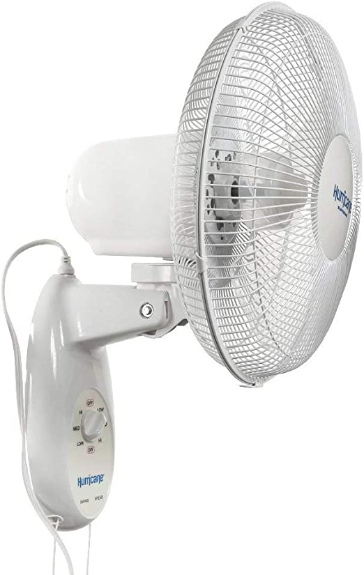 SD LIFE Wall Mounted Fan Oscillating 12 Inch 3 Speed Indoor Outdoor White