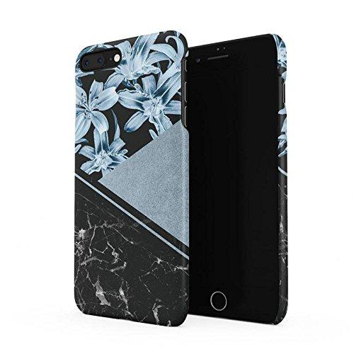 Black Marble & Turquoise Flower Blossom Blocks Hard Plastic Phone Case For iPhone 7 Plus & iPhone 8 (Black Pentagon Case)
