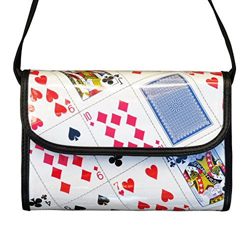 (Medium crossbody bag made of playing cards - FREE SHIPPING, upcycled style eco vegan recycled reclaimed repurposed materials play card las vegas casino gift gifts for poker bridge player players)