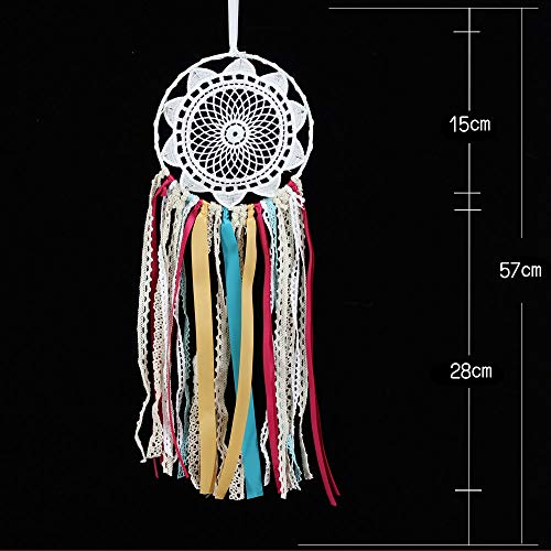 Weite Dream Catcher, Real Handmade Ribbon Dream Catcher with Bright String Lights, Exquisite Household Wall Hanging Car Hanging Ornament (White) by Weite (Image #6)