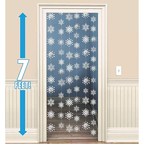 (Amscan Christmas 3-D Snowflake Foil 7-Feet String Decorations, White, Pack of)