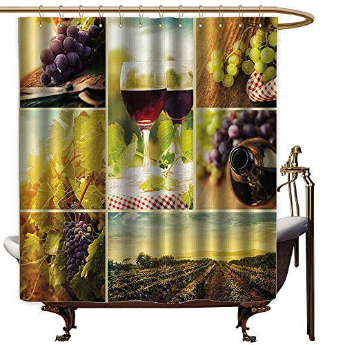 Home Decor Shower Curtain,Home Decor Collection Rustic Style Collage of Wine Glass Grapes and Vineyard Qualified Harvest Village Picture Art,Shower Curtain bar,W55x86L,Green Red