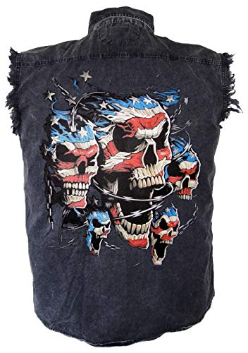 (Leather Supreme Men's Patriotic American Flag Skulls Denim Cutoff Biker)