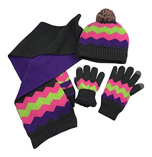 N'Ice Caps Women's Bulky Sherpa Lined Cable Knit Zig Zag Hat/Scarf/Glove 3PC Set (Black/Fuchsia/Multi, Medium/Large)