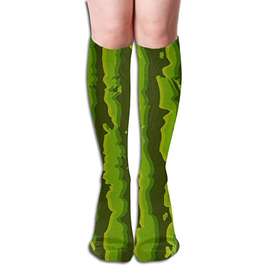 b741d97994e Amazon.com  Green Watermelon Realistic Striped Knee High Socks Unisex  Polyester Cotton 50 CM Full Long Stockings  Clothing