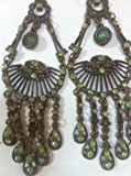 Vintage Style Princess Jasmine Earrings Green Bronze 3""