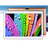 """10.1"""" Inch Retina Screen Tablet PC -- 3G Phablet -- Latest Android 5.1 Lollipop -- 1.5GHz Octa-Core CPU -- 1GB RAM -- 16GB Storage -- Dual Camera -- 2560*1600 Resolution -- Bluetooth -- In Built 2x Normal DUAL Sim Card Slot (Gold/ White)"""
