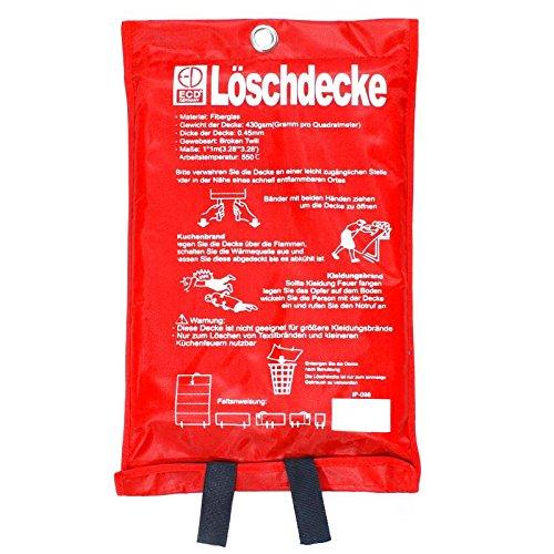 ECD Germany Glasfaser Löschdecke 100x100cm inkl. Hülle Brandschutzdecke Feuerlöschdecke