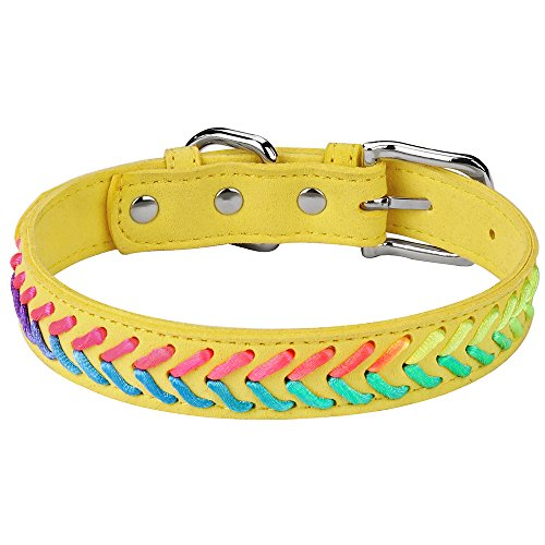 DAIHAQIKO Colorful Dog Collar and Leash Ultra-Light Soft Suede Microfiber Colorful Rope Weave 11 Colors & 4 for Puppies Small Medium Dogs or Cats (XS, Collar Yellow ()