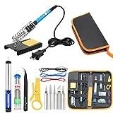 Iusun Soldering Iron Kit, 60W Electronics Adjustable Temperature Welding Tool, Soldering Set, 5pcs Soldering Tips, Desoldering Pump, Soldering Iron Stand, Tweezers (Multicolor)