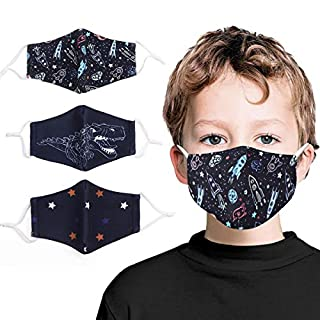Kids Face Mask Washable Cotton Fabric Cloth Face Mask 2 Layerwith Adjustable Elastic Ear Loops Face Reusable Children Cute Print Face Mask 3 Piece=Navy Blue