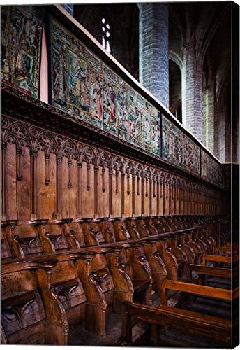 Choir Stalls at Abbatiale Saint-Robert, La Chaise-Dieu, Haute-Loire, Auvergne, France by Panoramic Images Canvas Art Wall Picture, Gallery Wrap, 32 x 48 inches