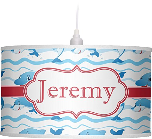 RNK Shops Dolphins Drum Pendant Lamp Linen (Personalized) by RNK Shops